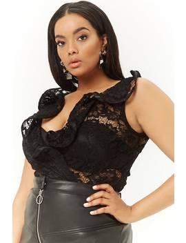 Plus Size Crochet Lace Knit Bodysuit by Forever 21