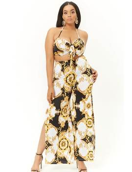 Plus Size Baroque Print Cropped Halter & Pants Set by Forever 21