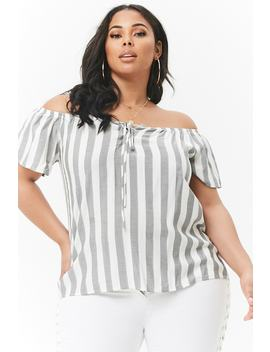 Plus Size Striped Off The Shoulder Lace Up Top by Forever 21