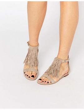 Kendall & Kylie Tessa Suede Nude Fringe Flat Sandals by Sandals