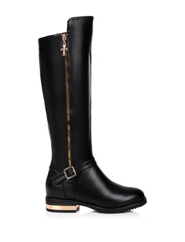 Black Leather & Rose Gold Tone Zip Boots by Jady Rose