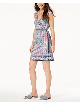 Printed Faux Wrap Dress, Created For Macy's by Maison Jules