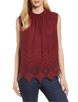 Embroidered Hem Top by Caslon®