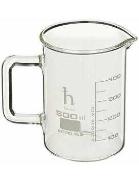 Eisco Premium Hand Crafted Beaker Mug, Thick Borosilicate Glass, Large Size, Pint Glass Or Coffee Mug Sized, 500 Ml Capacity, 16.9 Oz. by Eisco