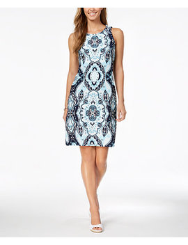 Petite Printed Sheath Dress, Created For Macy's by Charter Club