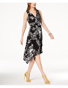 I.N.C. Faux Wrap Handkerchief Hem Dress, Created For Macy's by Inc International Concepts