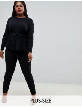 Flounce London Plus Jersey Jumpsuit In Black by Flounce London