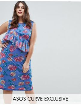 Asos Curve Mesh Midi Column Dress In Floral Print by Asos Curve