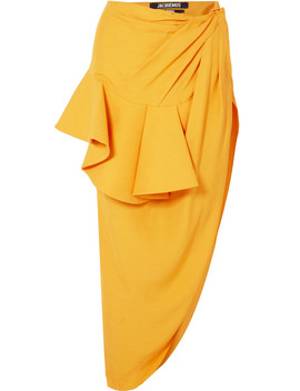 Sol Ruffled Asymmetric Crepe Midi Skirt by Jacquemus