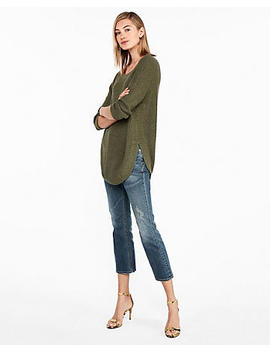 Thermal Stitch Circle Hem Tunic Sweater by Express