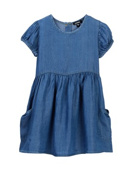 Short Puff Sleeve Tencel Dress (Toddler & Little Girls) by Zunie