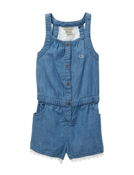 Lace Back Denim Romper (Little Girls) by Calvin Klein