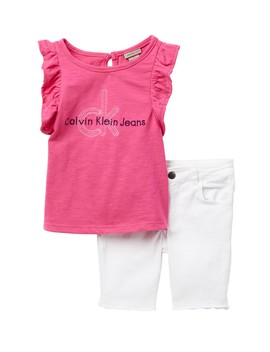 Ruffle Sleeve Graphic Top & Stretch Denim Shorts Set (Little Girls) by Calvin Klein