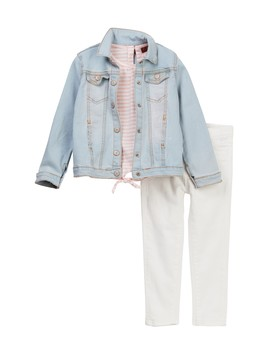 Denim Jacket, Tee, & Skinny Jean 3 Piece Set (Toddler Girls) by 7 For All Mankind