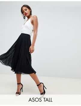 Asos Design Tall Pleated Midi Skirt by Asos Design