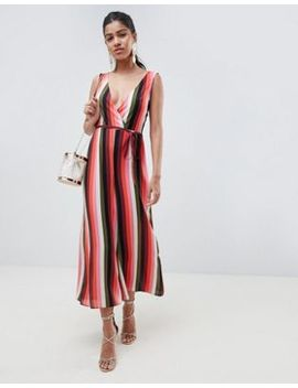 Asos Design Jumpsuit With Wrap Front In Multi Stripe by Asos Design