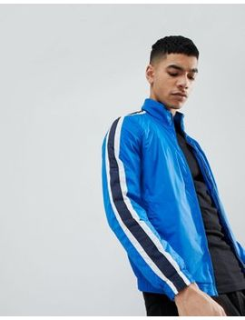 Pull&Bear Track Jacket In Blue With Side Stripe by Pull&Bear