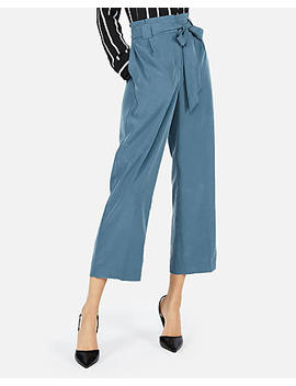 High Waisted Sandwashed Sash Waist Cropped Pant by Express