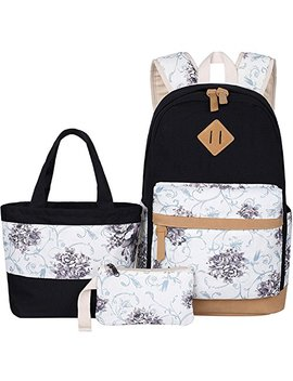 Bluboon Teens Backpack Set Canvas Girls School Bags, Bookbags 3 In 1 by Bluboon