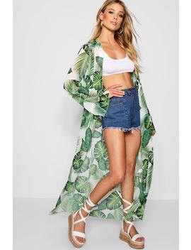 Palm Print Maxi Kimono by Boohoo
