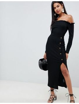 Asos Design Off Shoulder Rib Maxi Dress With Horn Buttons by Asos Design