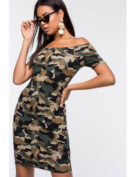 Camo Off Shoulder Dress by A'gaci