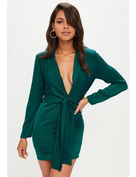 Green Satin Tie Front Knot Shift Dress by Missguided