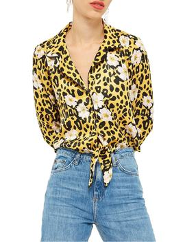 Animal Floral Print Pajama Shirt by Topshop