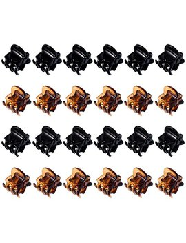 Hotop 24 Pieces Mini Hair Clips Plastic Hair Claws Pins Clamps For Girls And Women (Black And Brown) by Hotop