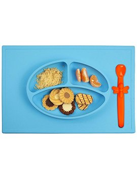 Silicone Baby Placemat + 3 Compartment Food Plate With Silicone Spoon Included   Portable Non Slip Mat   Meal Prep For Feeding Babies Toddlers And Kids  ... by Dreams Abm