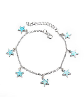 Trendy Luminous Blue Star Anklet Foot Chain Barefoot Sandal Beach Jewelry Bracelet Gift For Women by Newchic