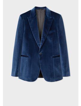 Men's Tailored Fit Slate Blue Velvet Blazer by Paul Smith