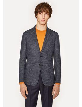 Men's Slim Fit Navy Flecked Wool Silk Blazer by Paul Smith