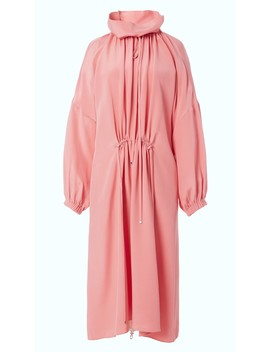 Silk Drawstring Ruched Dress by Tibi