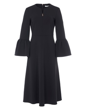 Structured Crepe V Neck Ruffle Sleeve Midi Dress by Tibi