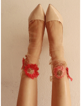 Light Pink Embroidery Flower Vintage Women Sheer Mesh Socks by Choies