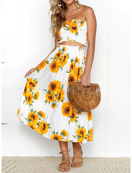 White Bandeau Sunflower Print Crop Top And High Waist Midi Skirt by Choies