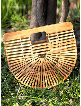 Yellow Bamboo Weaving Vintage Women Clutch Bag by Choies