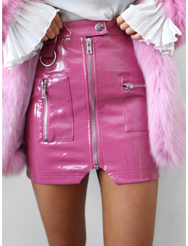 Pink High Waist Zip Front Leather Look Pencil Mini Skirt by Choies