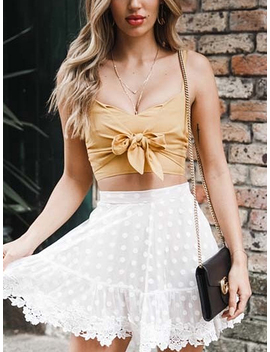 Yellow Tie Front Crop Cami Top by Choies