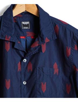 Short Sleeve Indigo Jacquard Camp Collar Shirt by Todd Snyder