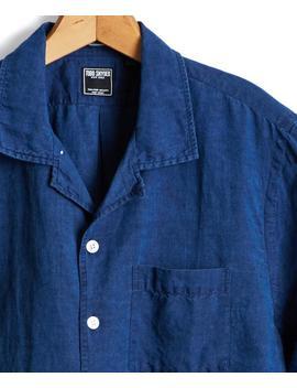 Short Sleeve Camp Collar Indigo Linen Shirt by Todd Snyder