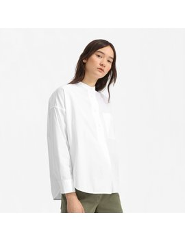 The Poplin Collarless Popover Shirt by Everlane