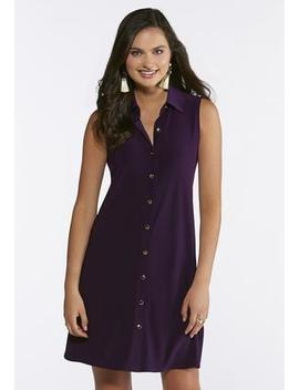 Plus Size Solid Purple Shirt Dress by Cato