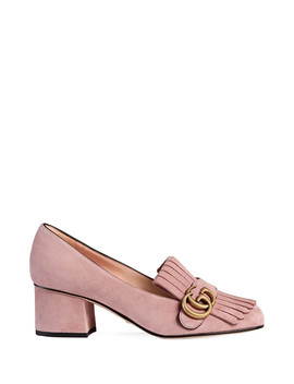 Women's Pink Suede Fringe Block Heels by Gucci                              Sold Out
