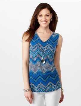 Caged Back Chevron Print Sleeveless Top by Dressbarn