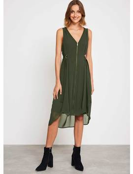 Khaki Zip Front Cocoon Dress by Mint Velvet