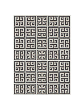 Black Greek Key Reversible Peruvian Flat Weave Rug by Jonathan Adler