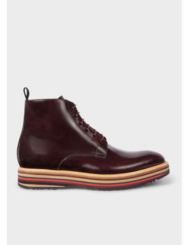 Men's Bordeaux Leather 'Corelli' Boots With Multi Coloured Soles by Paul Smith