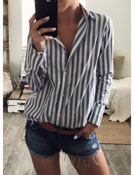 Turn Down Collar Long Sleeve Striped Button Down Shirt by Oasap